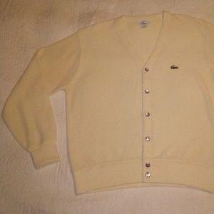 Vintage 1980s Izod/Lacoste Yellow Cardigan/Sweater